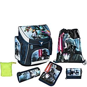 Школьный рюкзак Scooli Star Wars с наполнением (5 предметов) + дождевик