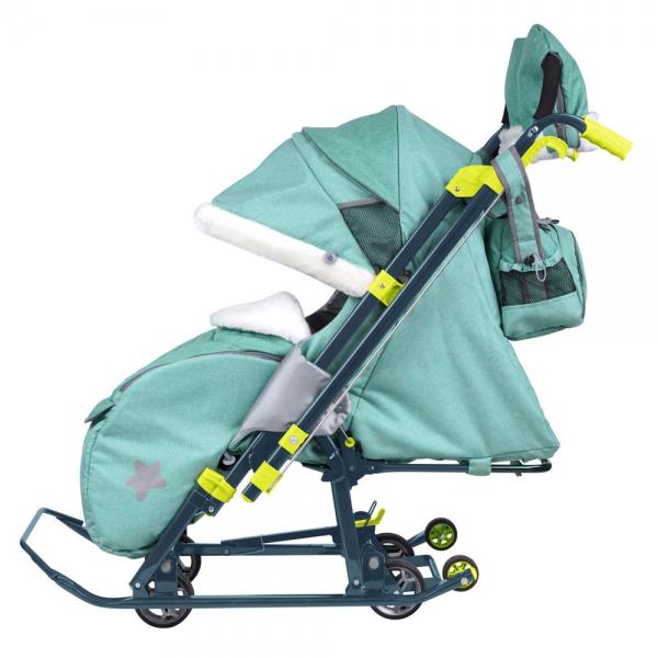 Санки коляска Ника Детям 7 3 в джинсовом цвете мятный, - фото 4