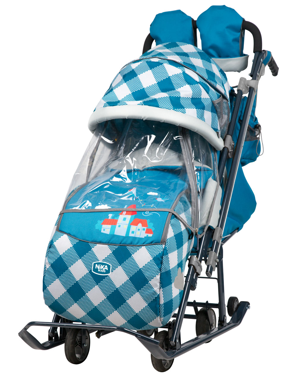 Санки коляска Ника Детям 7 4 Капри в клетку, - фото 1