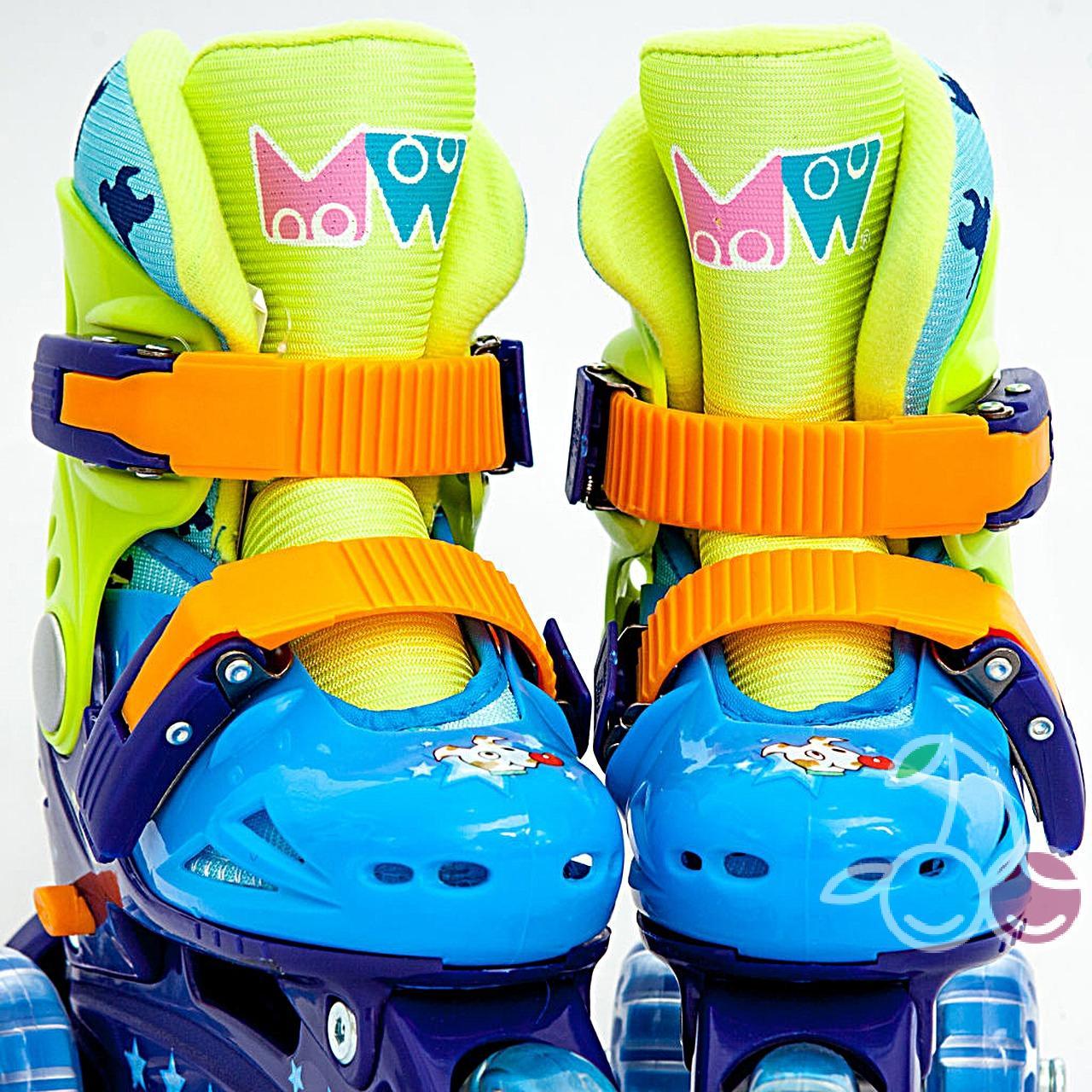 Роликовые коньки детские 28 размер, для обучения (трехколесные, раздвижной ботинок) MagicWheels зеленые, - фото 1